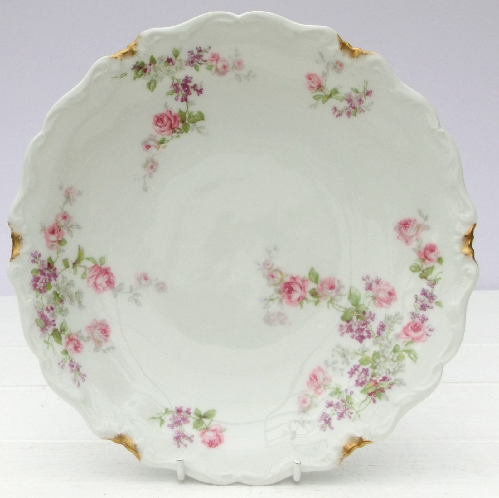 Vintage French Charles Ahrenfeldt Limoges China Plate Pink Roses On