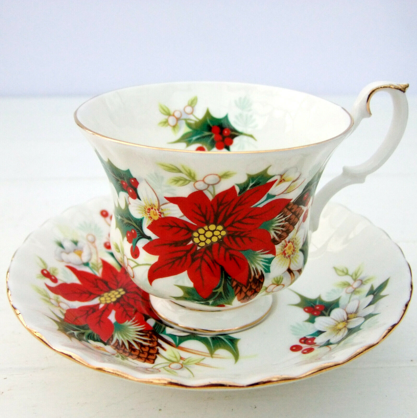 Royal Albert China POINSETTIA Cup /& Saucer Set EXCELLENT